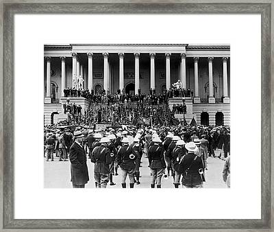 Expeditionary Force At Capitol Framed Print by Underwood Archives