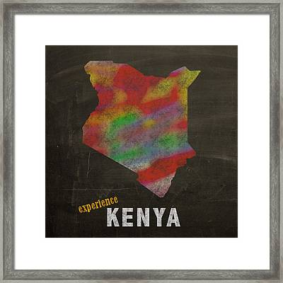 Experience Kenya Map Hand Drawn Country Illustration On Chalkboard Vintage Travel Promotional Poster Framed Print by Design Turnpike