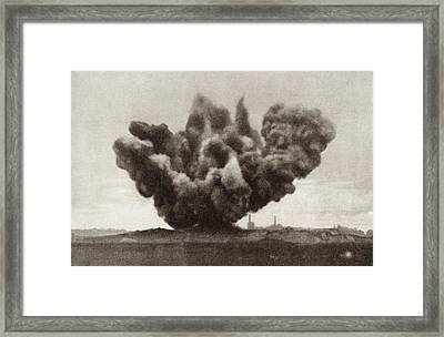 Exploding Artillery Shell During The Framed Print by Vintage Design Pics
