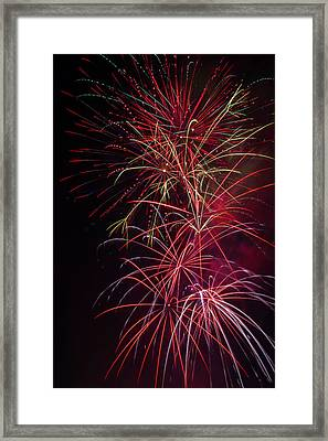 Exploding Festive Fireworks Framed Print by Garry Gay