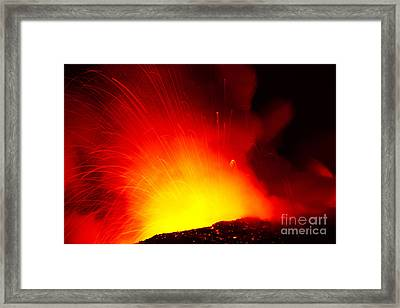 Exploding Lava At Night Framed Print by Peter French - Printscapes