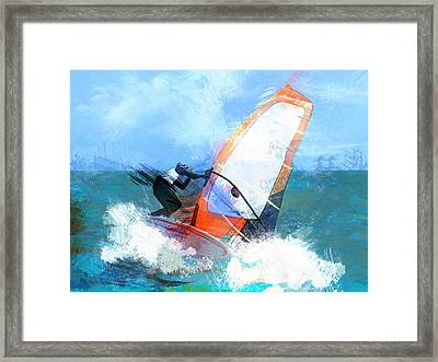 Expressionist Orange Sail Windsurfer  Framed Print by Elaine Plesser