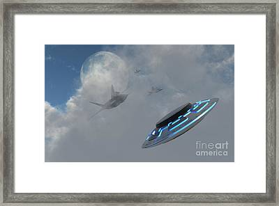 F-22 Stealth Fighter Jets On The Trail Framed Print by Mark Stevenson
