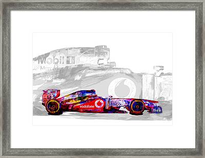 F1 Race Car Digital Painting Framed Print by David Haskett