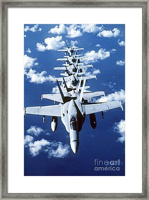 Fa-18c Hornet Aircraft Fly In Formation Framed Print by Stocktrek Images