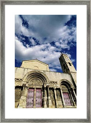 Facade Of A Benedictine Monastery In Saint-gilles Framed Print by Sami Sarkis