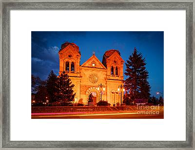 Facade Of Cathedral Basilica Of Saint Francis Of Assisi At Twilight- Santa Fe New Mexico Framed Print by Silvio Ligutti