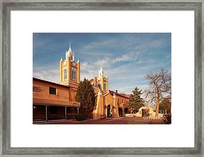 Facade Of San Felipe De Neri Church In Old Town Albuquerque - New Mexico Framed Print by Silvio Ligutti
