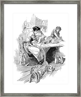 Face Mask Production, 19th Century Framed Print by Spl