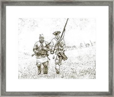 Face Of Danger Soldier Sketch Framed Print by Randy Steele