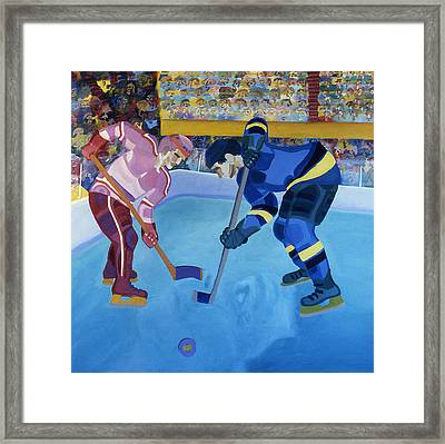 Face-off In The Corner Framed Print by Ken Yackel