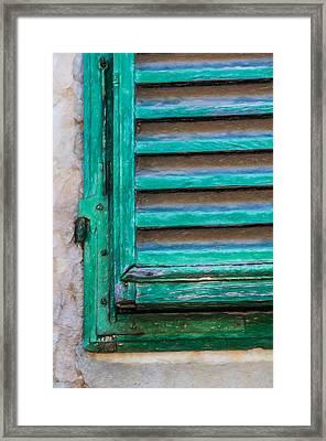Faded Green Window Shutter Framed Print by David Letts