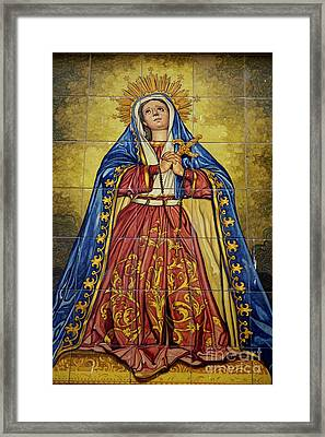 Faience Mural Depicting The Virgin Mary On A Wall Framed Print by Sami Sarkis