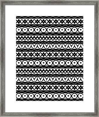 Fair Isle Black And White Framed Print by Rachel Follett