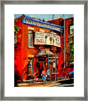 Fairmount Bagel Montreal Framed Print by Carole Spandau