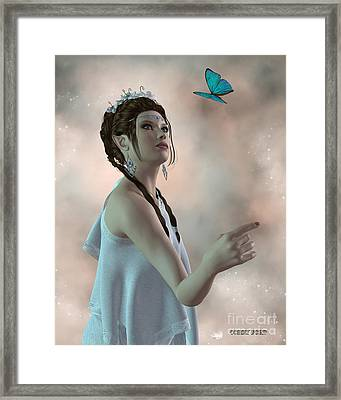 Fairy And Butterfly Framed Print by Corey Ford