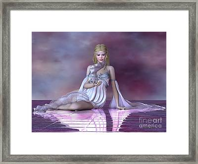 Fairy And Ice Dragon Framed Print by Corey Ford