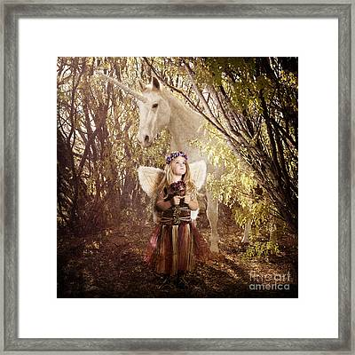 Fairy And Unicorn Framed Print by Cindy Singleton