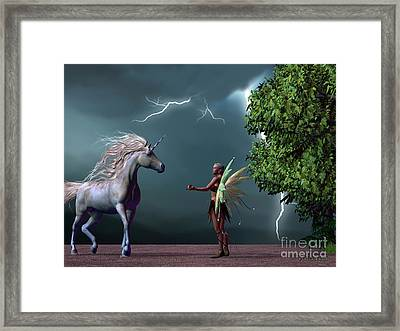 Fairy And Unicorn Framed Print by Corey Ford