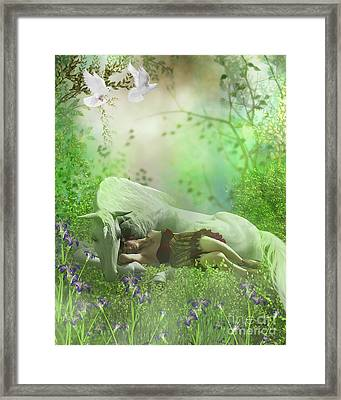 Fairy And White Unicorn Framed Print by Corey Ford