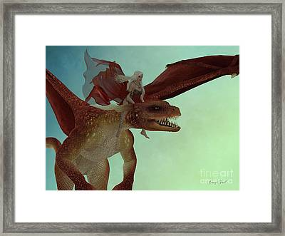 Fairy Rides Dragon Framed Print by Corey Ford