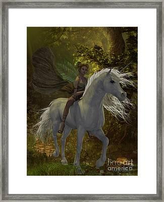 Fairy Rides Unicorn Framed Print by Corey Ford