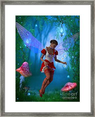 Fairy With Glow Flies Framed Print by Corey Ford