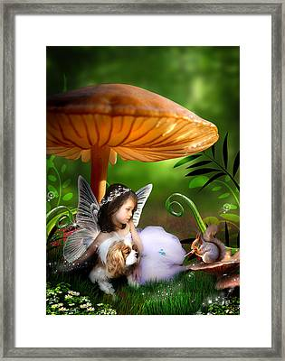 Fairy Woodland Framed Print by Julie L Hoddinott