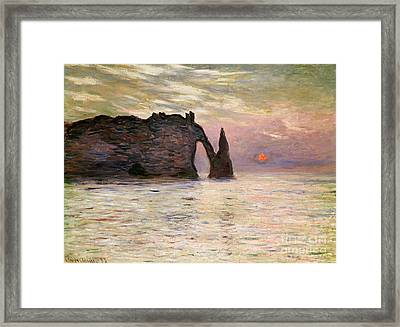 Falaise Detretat Framed Print by Claude Monet
