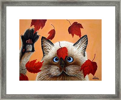 Fall Cat Framed Print by Chris Law