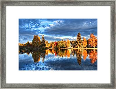 Fall Colors On Mirror Pond Framed Print by John Melton