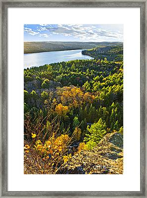 Fall Forest And Lake Top View Framed Print by Elena Elisseeva