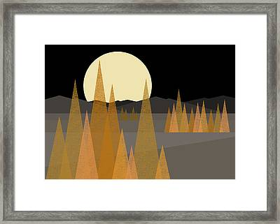 Fall Moon  Framed Print by Val Arie