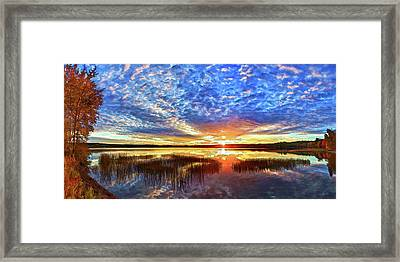 Fall Sunset At Round Lake Panorama Framed Print by Bill Caldwell -        ABeautifulSky Photography