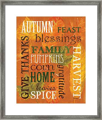 Fall Typography 1 Framed Print by Debbie DeWitt