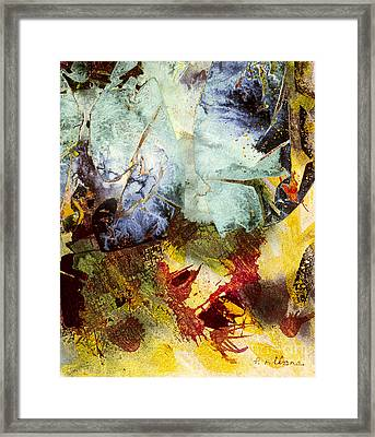 Fallen Peacock A Symbolic Abstract Painting In Acrylic Framed Print by Phil Albone