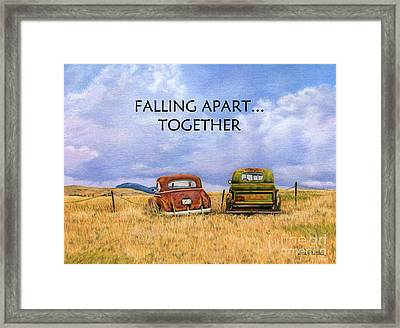 Falling Apart Together Framed Print by Sarah Batalka