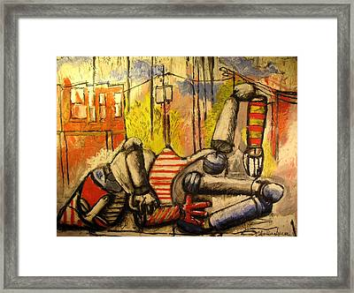 Falling Down Man Sold Framed Print by Charlie Spear