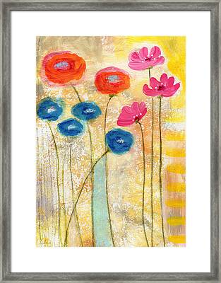 Falling For You- Floral Art By Linda Woods Framed Print by Linda Woods