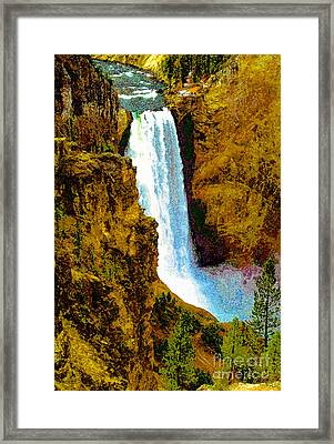 Falls Of The Yellowstone Framed Print by David Lee Thompson