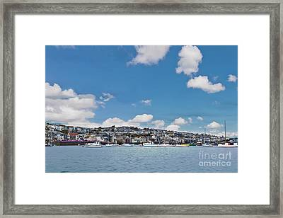 Falmouth From The Water Textured Framed Print by Terri Waters