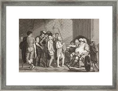 Falstaff With Justice Shallows. A Scene Framed Print by Vintage Design Pics