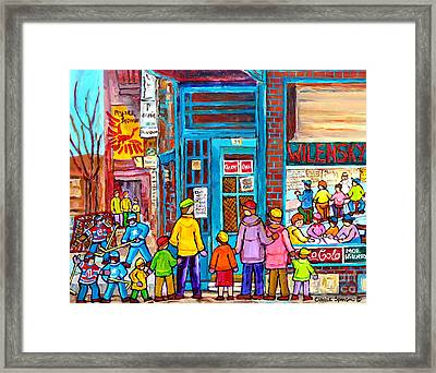 Family Day At Wilensky Lunch Counter Montreal Street Hockey Winter Scene Carole Spandau Framed Print by Carole Spandau