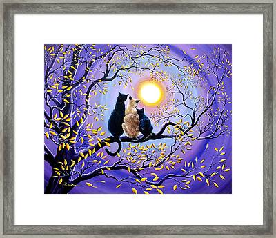 Family Moon Gazing Night Framed Print by Laura Iverson