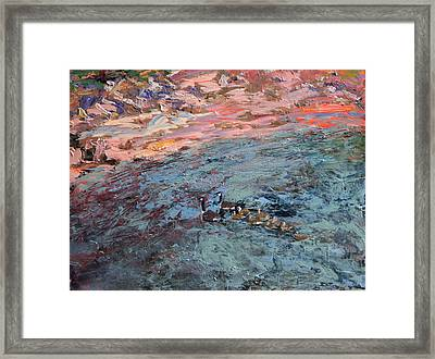 Family Of Geese At Waukegan Harbor Framed Print by Mary Haas