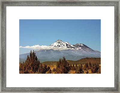 Family Portrait - Mount Shasta And Shastina Northern California Framed Print by Christine Till
