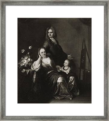 Family Portrait With Flower Still Life Framed Print by Juriaen Pool