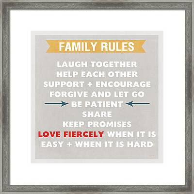 Family Rules Framed Print by Linda Woods