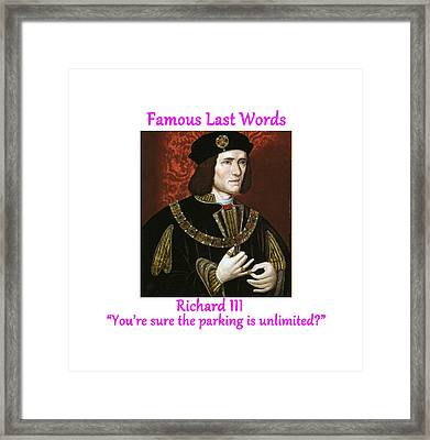 Famous Last Words - Richard IIi Framed Print by Philip Ralley