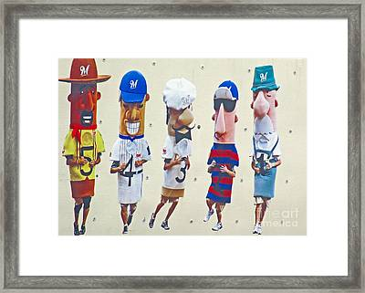Famous Racing Sausages Framed Print by Kay Novy